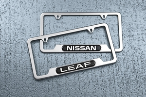 View License Plate Frame (SS Finish with Leaf Logo) Full-Sized Product Image